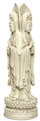 3 Side Kuan Yin Statue, Stone Finish, 13 Inches