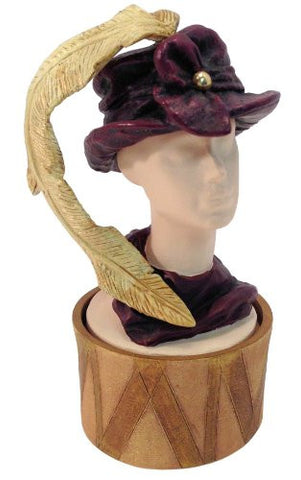 Just the Right Shoe / Style Feather Flair Hat Bust Trinket Ring Treasure Box