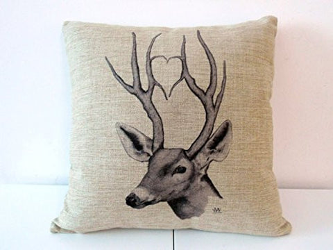 Pillow Cases Standard Size, CaseShell® Deer Pattern Cotton Linen Square Throw Pillow Case Decorative Cushion Cover Pillowcase Pillowslip for Sofa 18x18 Inch