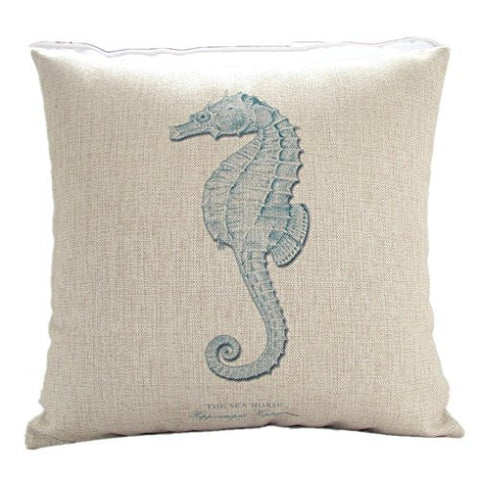 Pillow Cases Standard Size, CaseShell® Seahorse Pattern Cotton Linen Square Throw Pillow Case Decorative Cushion Cover Pillowcase Pillowslip for Sofa 18x18 Inch
