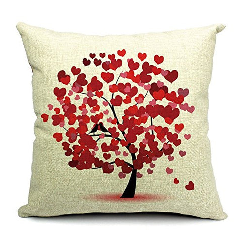 Pillow Cases Standard Size, CaseShell® Love Tree Pattern Cotton Linen Square Throw Pillow Case Decorative Cushion Cover Pillowcase for Sofa 18x18 Inch