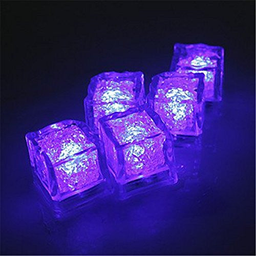 12pcs pack purple light nontoxic water submersible flashing freezable light up ice cubes for bar ktv wedding christmas party decor 12