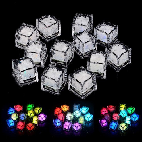 12pcs pack water submersible flashing colorful changing freezable light up ice cubes for bar ktv wedding party decor