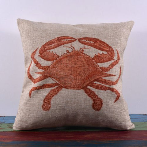 Pillow Cases Standard Size, CaseShell® Crab Pattern Cotton Linen Square Throw Pillow Case Decorative Cushion Cover Pillowcase Pillowslip for Sofa 18x18 Inch