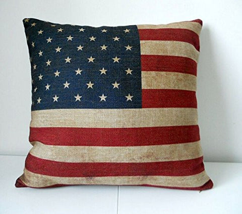 Pillow Cases Standard Size, CaseShell® Cotton Linen Square Decorative Throw Pillow Case Cushion Cover US Flag 18x18 Inch
