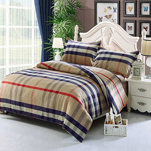 CdyBox Rural Style Duvet Cover with Quilt Cover Pillowcase Bedding Twin Queen King (2.0m, light tan burberry)
