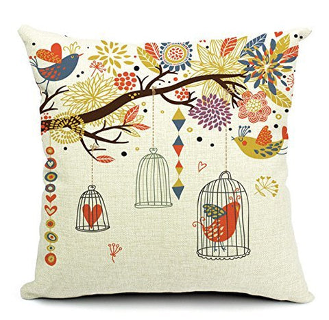 "Pillow Cases Standard Size, CaseShell® Cotton Linen Square Decorative Throw Pillow Case Cushion Cover Bird and Birdcage 18""x18"""
