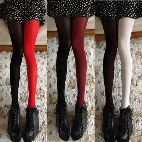 Women Spring Autumn 120D Tights Fashion Asymmetry Contrast Color Velvet Pantyhose Lady Girls Sexy Stockings Japanese Tight