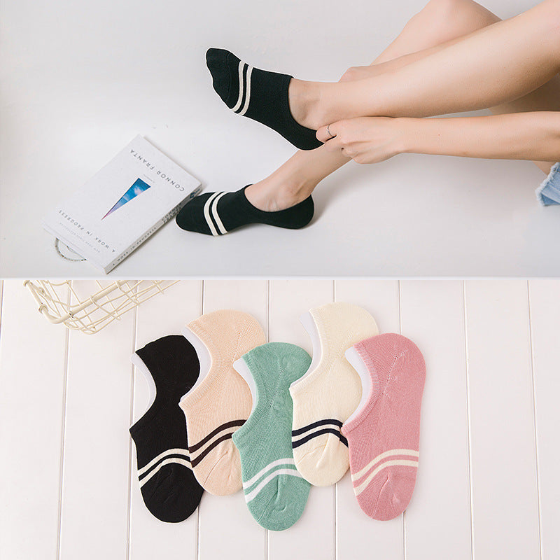 comfortable cotton girl women's socks ankle low female invisible color girl boy hosiery ladies boat sock slipper 1pair=2pcs WS97