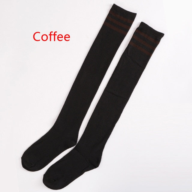 Fashion Sexy Girls Students Women Sexy Stripe Cotton Over Knee Socks Thigh High Stockings Long Socks Cotton Stockings