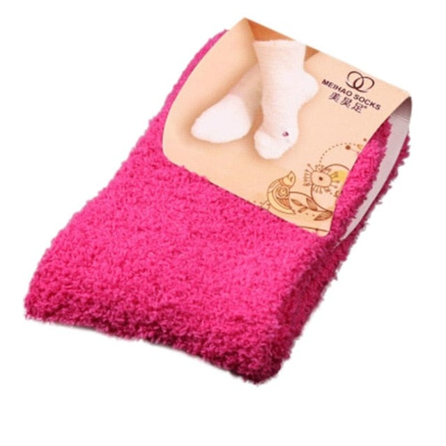 MUQGEW Fabulous Elastic Home Women Girls Soft Bed Floor Socks Fluffy Warm Winter Breathable Pure Various Colors Available Sock