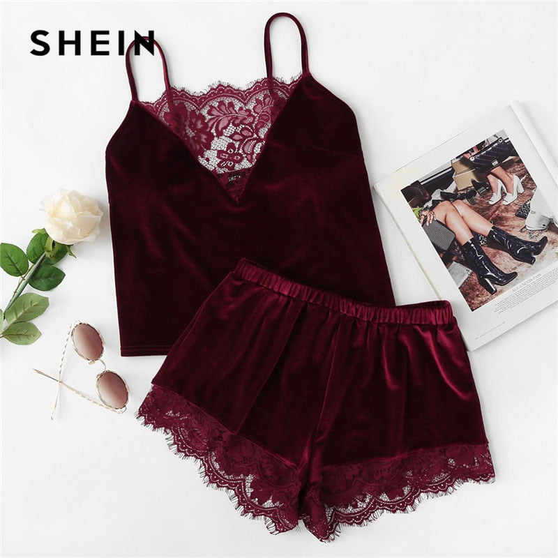 SHEIN 2018 Lace Trim Velvet Cami & Shorts Pajamas Set Women Burgundy Plain Spaghetti Strap Sleeveless Sexy Summer Sleepwear