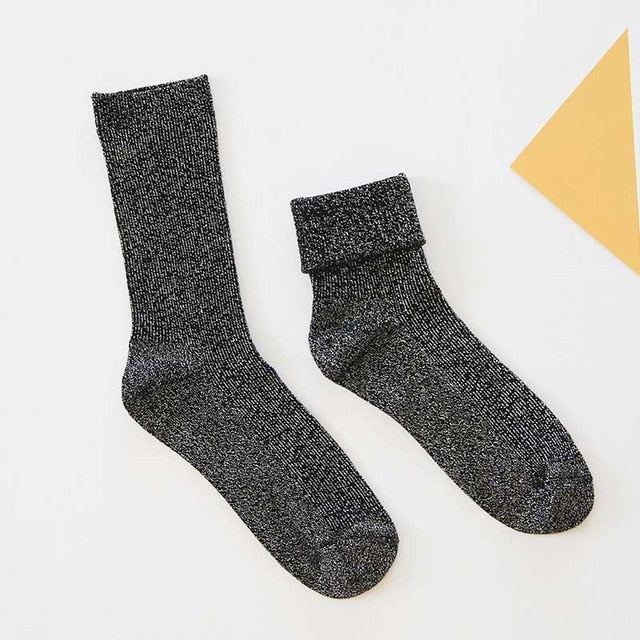 SP&CITY Winter Cotton Solid Shiny Woman Simple Socks Fashion Art Fold Female Student Thick Warm Socks Shiny Metallic Line Sock