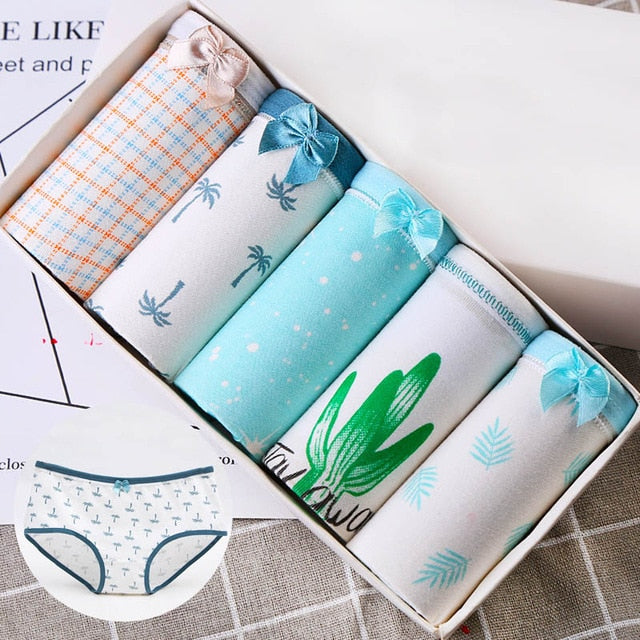 LANGSHA 5PCS/lot Women Panties Sexy Cotton Underwear Girls Cute Printed Intimate Plus Size Briefs Lady Breathable Underpants2928