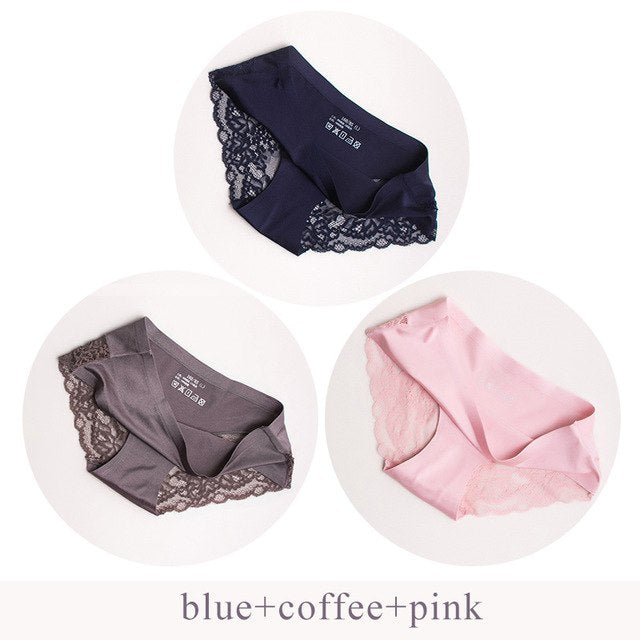 Sexy Panties Underwear Women Seamless Lace Ice Silk Panties Sexy Underpants Cute Lingerie Cotton Briefs Bikini Panty For Girls