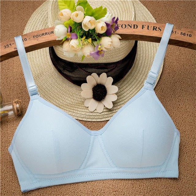 New Young Lady Bras Solid Cotton Bra Push Up Wire Free Underwear Bra for Women