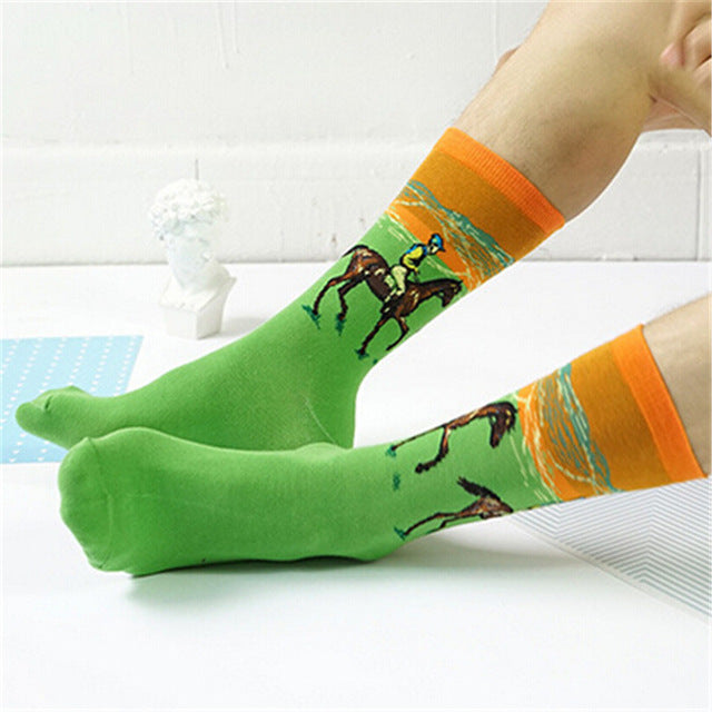 Fashion Art Cotton Crew Printed Socks Painting Pattern Women Men Harajuku Design Sox Calcetine Van Gogh Novelty Funny Drop Ship