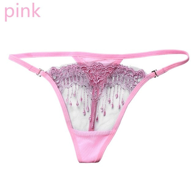 1/2 PC Women Sexy Pearl Lingerie G-string Transparent Underwear Embroidery Tassel Thongs Panties Knickers Briefs Sleepwear