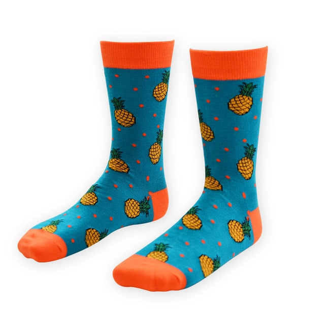 New Cotton Men Crew Socks Pizza Hamburger Cactus Pattern Hip Hop happy art weed socks short funny man Casual Harajuku Novelty