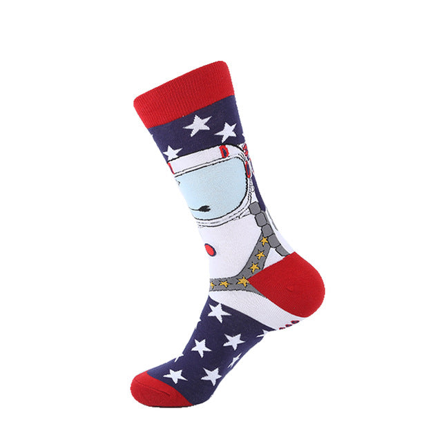 VPM Combed Cotton Men's Socks Harajuku Colorful Happy Funny Bear Fish Long Warm Dress Socks for Male Wedding Christmas Gift