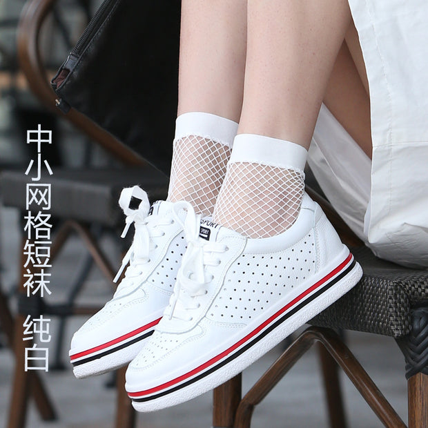 Summer Women Sexy Grid Socks Short Fishnet Socks White Hollow Lattice Geometry Black Breathable Net Socks Female 1pair=2pcstt090
