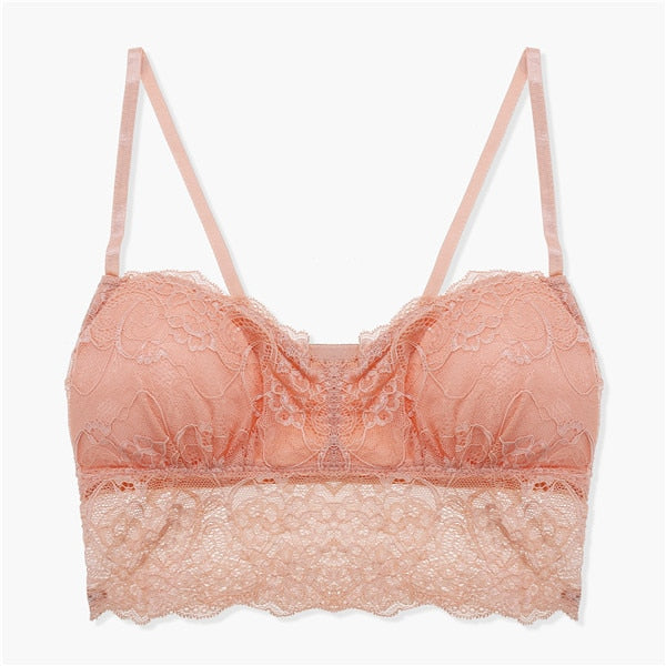Hot Sexy Lace Floral Bralette Bras Lingerie Seamless Wireless One Piece Push Up Bras For Women Underwear Tops Demi Girls Bra