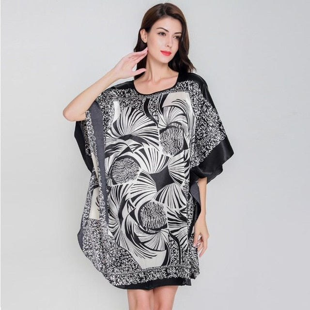 8c2c0593936 Plus Size Black Women s Summer Lounge Robe Lady New Sexy Home Dress Rayon  Nightgown Large Loose