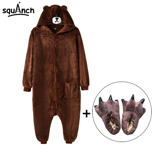 Kigurumi Bear Onesie Slippers Women Men Adult Animal Cartoon Brown Pajama Funny Festival Party Fancy Suit Zipper Button Overalls