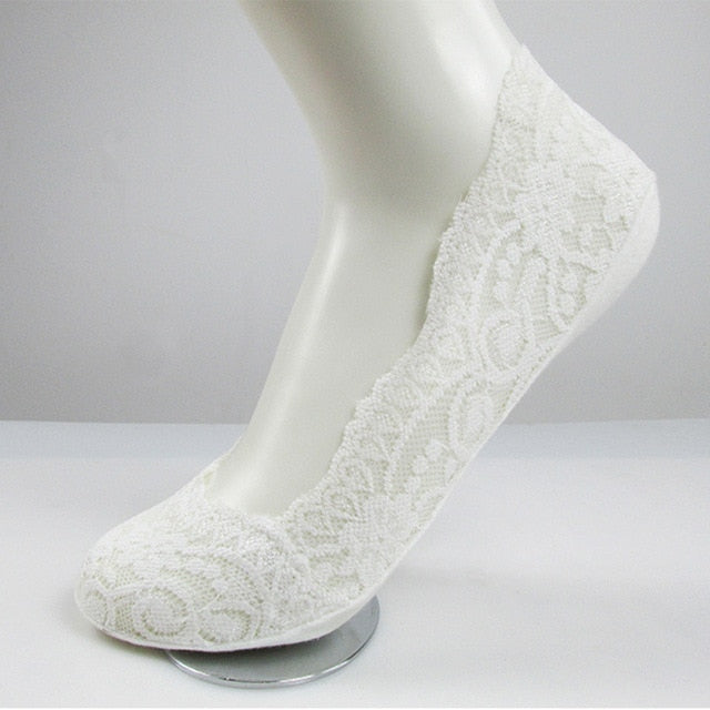 1 Pair Fashion Women Girls Summer Style Lace Flower Short Sock Antiskid Invisible Ankle Socks 2017 Sox