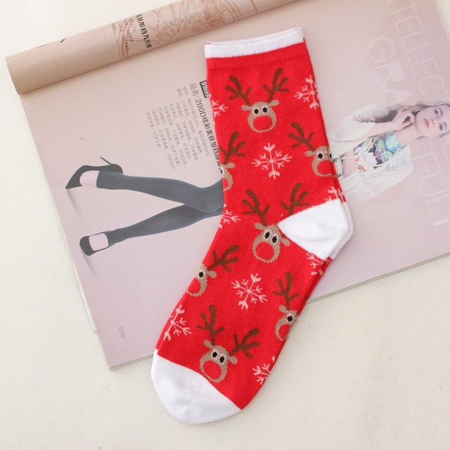 Warm Sweat and Deodorant 15 Old Man Elk Snowman Cotton Women's Socks In The Tube New Year Christmas  Festive Red Sock