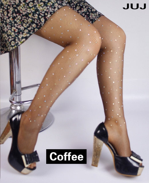 2019 Sexy Diamond Womens Glitter Fishnet Tights Mesh Pantyhose Rhinestone Nylons Lady Stockings Shiny pantyhose Collant Hosiery