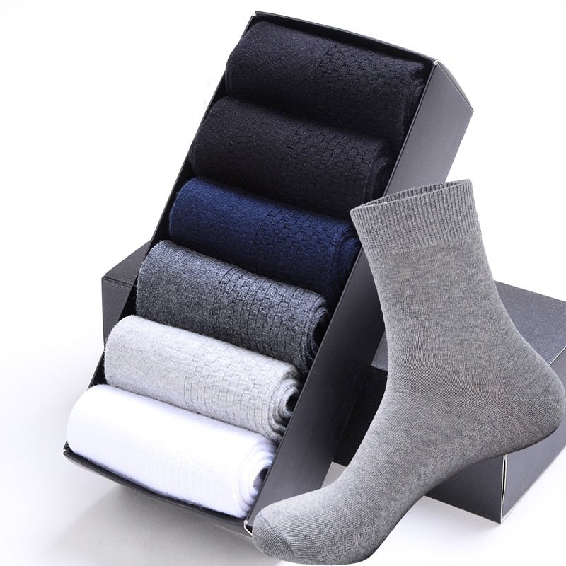 High Quality Casual Men's Business Socks For Men Cotton Brand Sneaker Socks Quick Drying Black White Long Sock 5 Pairs Big Size
