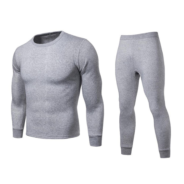 Men Winter Warm Long Johns Plus Size Solid Color Long Sleeve Top+Pants Thermal Underwear Set