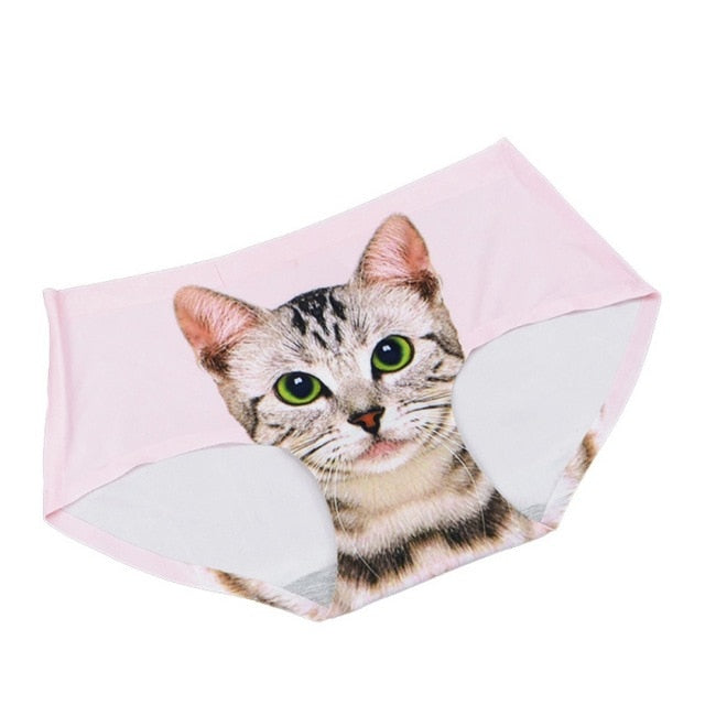 Sexy Pussycat Women's Panties Funny Female Anti-emptied 3D Cat Printed Lingerie Seamless Panties for Women White Black Underwear