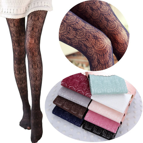 Hot! Women Sexy Stockings Summer Autumn Hollow Tights Japanese Lace Pantyhose Fishnet Stockings High Elastic Vintage Pantyhose