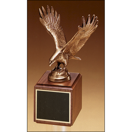 Fully modeled antique bronze eagle casting on a walnut base