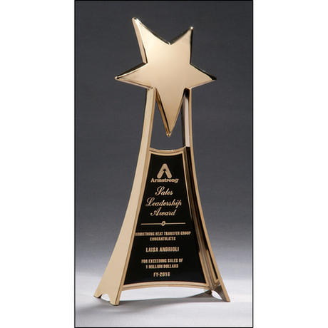 Large and impressive metal star trophy in gold finish.