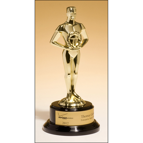 Classic Achiever Trophy cast metal figurine hand-polished with goldtone finish on black piano-finish base.