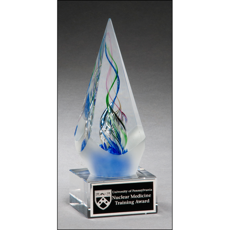 Arrow shaped art glass award with frosted glass accent.