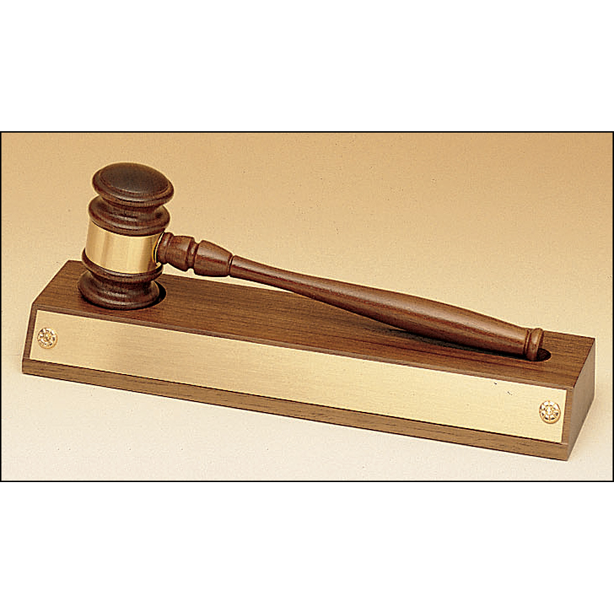 Removable gavel on an American walnut base.