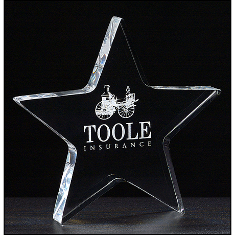 "Star Paperweight in 3/4"" thick clear acrylic."
