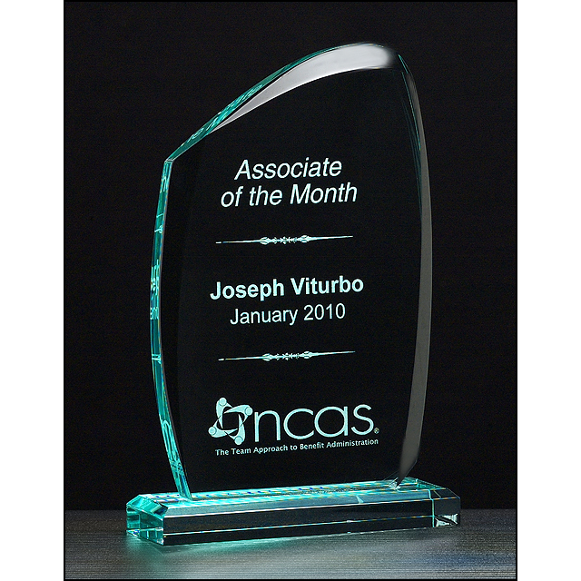 "Tidal Series 3/4"" thick polished acrylic award on acrylic base."