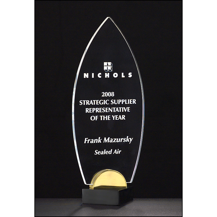 "Flame Series 3/8"" thick acrylic award on black and gold metal base."