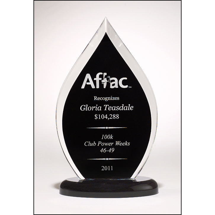 Flame Series clear acrylic award with blue or black silk screened back.