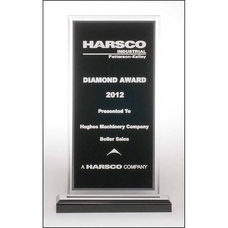 Clear acrylic award with black center and silver mirror border on a black acrylic base.