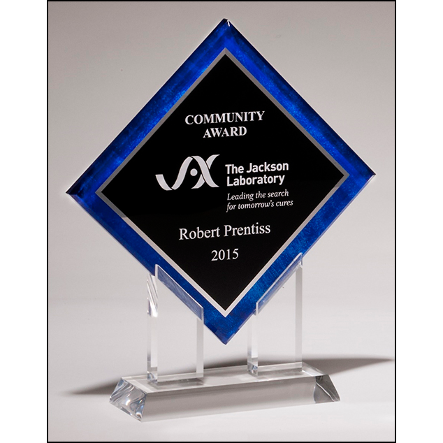 Diamond Series acrylic printed blue border, silver mirror highlights with black center and clear acrylic stand.
