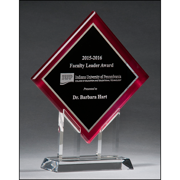 Diamond Series acrylic printed red border, silver mirror highlights with black center and clear acrylic stand