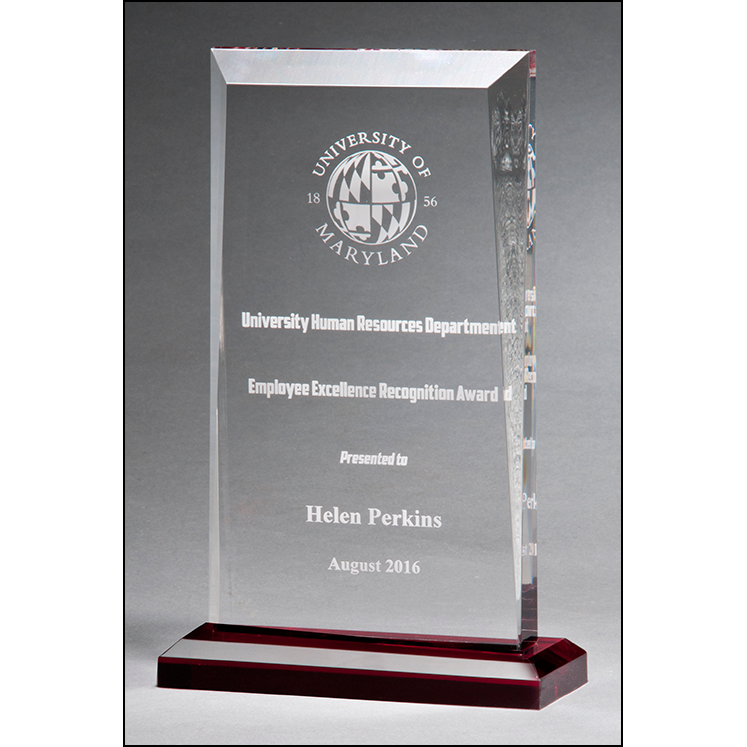 Apex Series clear acrylic award with red highlights and red base.
