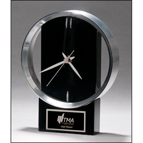 Modern Design Clock brushed silver bezel on black high gloss base.