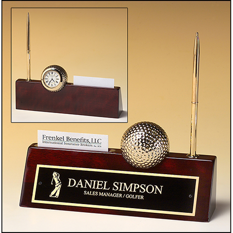 Rosewood piano finish nameplate with pen, business card holder, and goldtone metal golf ball / clock.
